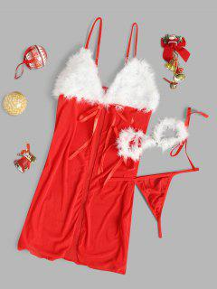 Faux Feather Handcuffs Christmas Lingerie Babydoll - Red