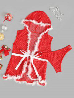 Faux Feather Plaid Mesh Christmas Lingerie Set - Red