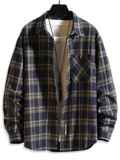 Plaid Print Button Up Long Sleeve Pocket Shirt - Cadetblue 2xl