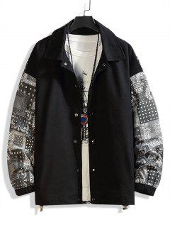 Paisley Scarf Print Button Up Jacket - Black 4xl