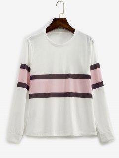 Contrast Striped Pullover Basic Sweatshirt - White M