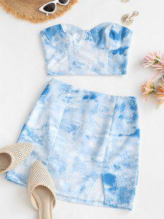 Tie Dye Smocked Back Slit Two Piece Dress - Light Blue S