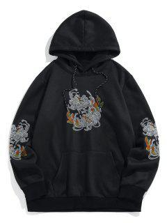ZAFUL Flower Embroidered Fleece Hoodie - Black L