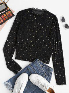 ZAFUL Semi Sheer Mesh Shiny Stars Print Metallic Top - Black M