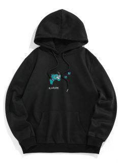 ZAFUL Dragon Embroidered Fleece Graphic Hoodie - Black M