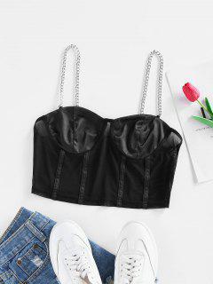 ZAFUL Chain Mesh Sheer Boned Bustier Cami Top - Black S