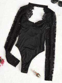 Lace Panel Cutout Long Sleeve Bustier Bodysuit - Black M