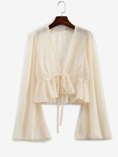 Metallic Threads Flare Sleeve Tie Front Blouse - Light Coffee S