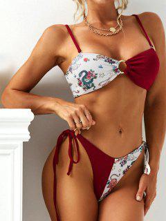 ZAFUL Ribbed Tiger Snake O Ring Lace Up String Bikini Swimwear - Red S