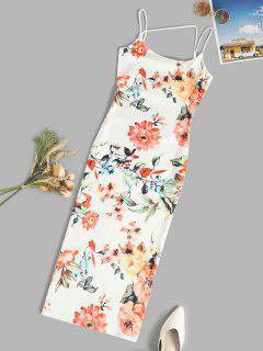 Spaghetti Strap Floral Slinky Midi Bodycon Dress - White M