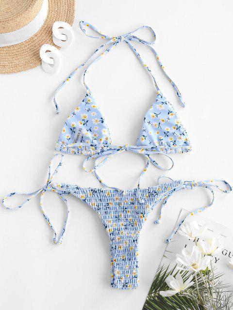 ZAFUL Costume da Bagno Bikini con Stampa a Fiorellini - Azzurro S Mobile