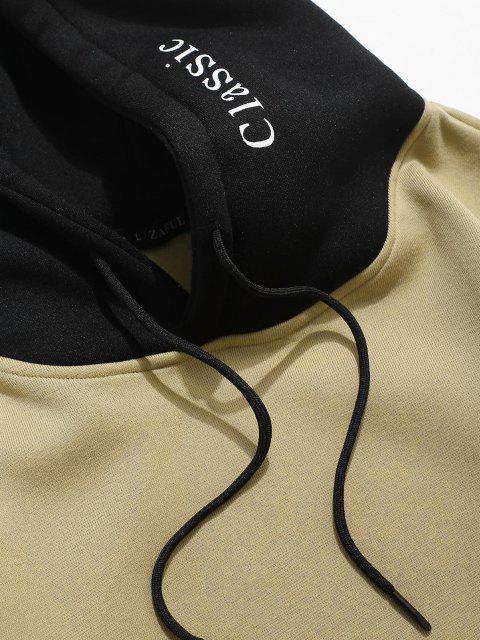 Sudadera con Capuchade Lana con Bolsillo de Parche de Carta de Color de Bloqueo - Caqui Claro XL Mobile