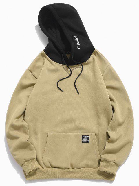 trendy Color-blocking Letter Patch Detail Pouch Pocket Fleece Hoodie - LIGHT KHAKI S Mobile