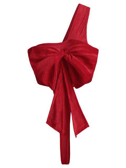 hot Bowknot One Shoulder Velvet Christmas Lingerie Teddy - RED ONE SIZE Mobile