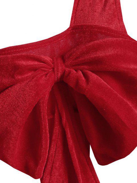 Teddy Lingerie in Velluto a Monospalla con Fiocco di Natale - Rosso Taglia unica Mobile