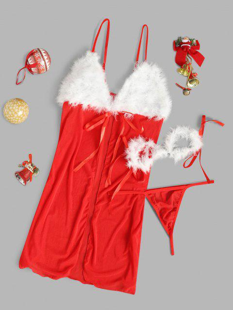 womens Faux Feather Handcuffs Christmas Lingerie Babydoll - RED ONE SIZE Mobile