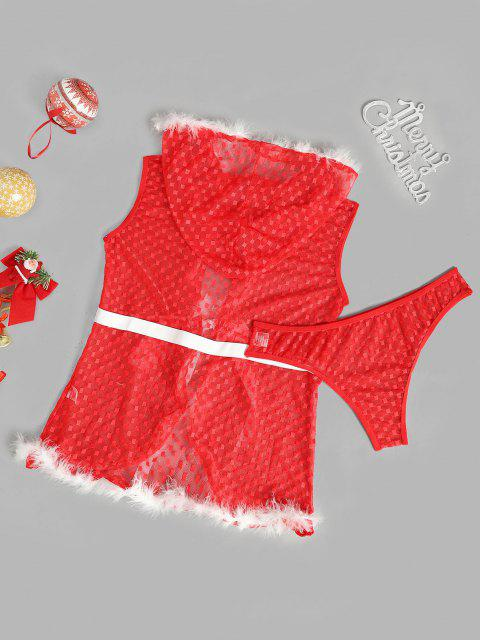 fancy Faux Feather Plaid Mesh Christmas Lingerie Set - RED ONE SIZE Mobile