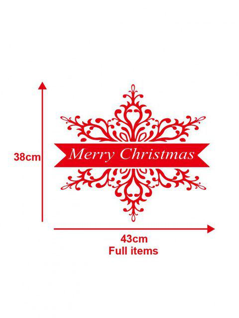fashion Merry Christmas Print Decorative Wall Art Stickers - RED 43X38 Mobile