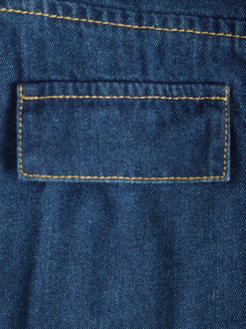Mini Vestito in Denim con Bottoni Automatici - Azzurro L Mobile