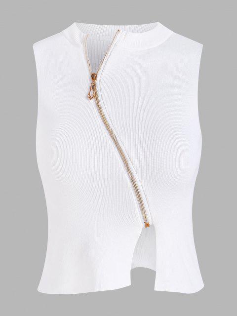 Pull sans Manches à Zip Latéral - Blanc Taille Unique Mobile