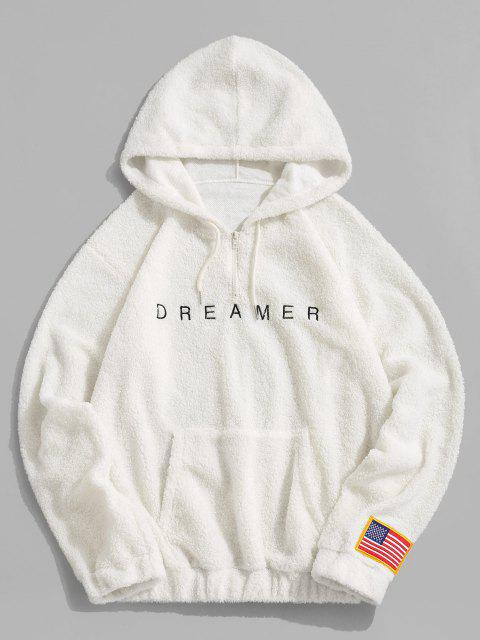 womens Dreamer Embroidery American Flag Patch Teddy Hoodie - WHITE L Mobile