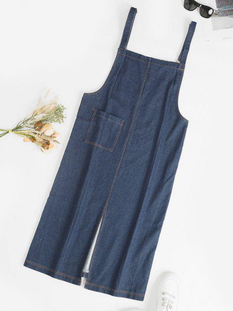 ladies Front Pocket Straight Pinafore Denim Dress - BLUE S Mobile