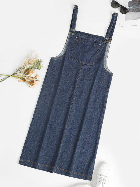 ladies Front Pocket Straight Pinafore Denim Dress - BLUE S Mobile