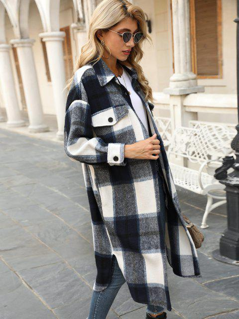 Plaid Pocket Drop Shoulder Slit Long Coat - ازرق غامق L Mobile