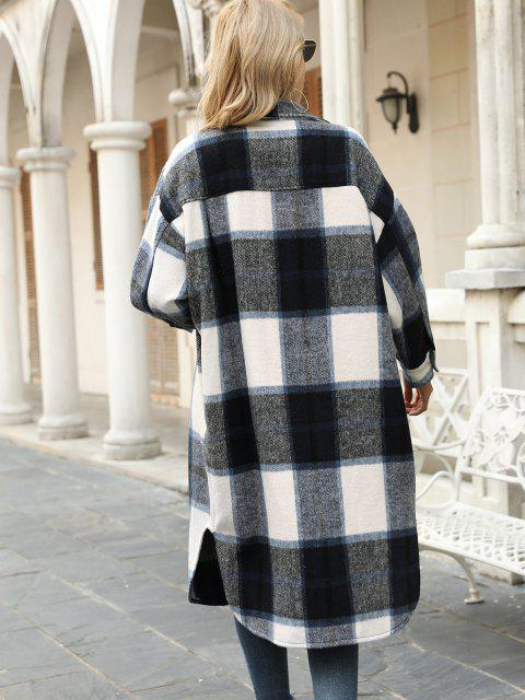 fancy Plaid Pocket Drop Shoulder Slit Long Coat - DEEP BLUE M Mobile