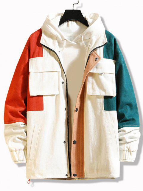 fashion Multi Pockets Zip Up Contrast Jacket - WHITE 3XL Mobile