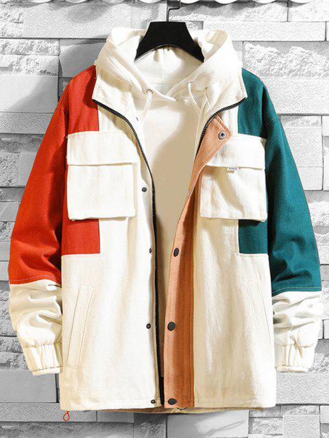women Multi Pockets Zip Up Contrast Jacket - WHITE 4XL Mobile
