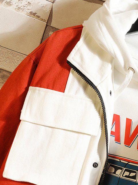 fancy Multi Pockets Zip Up Contrast Jacket - WHITE M Mobile