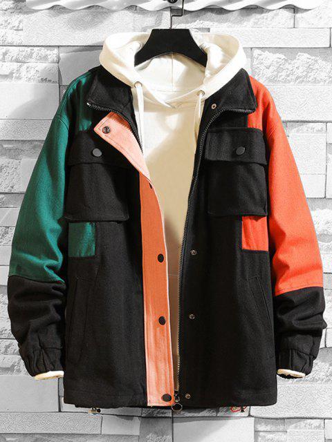 shop Multi Pockets Zip Up Contrast Jacket - BLACK 3XL Mobile