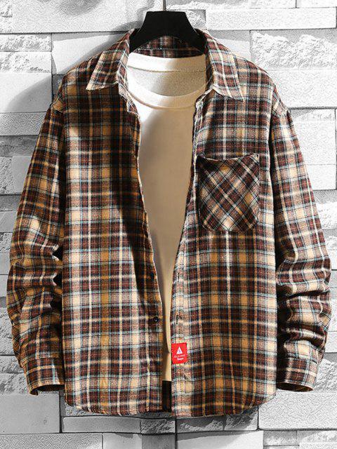fashion Plaid Print Applique Button Up Pocket Shirt - COFFEE XL Mobile