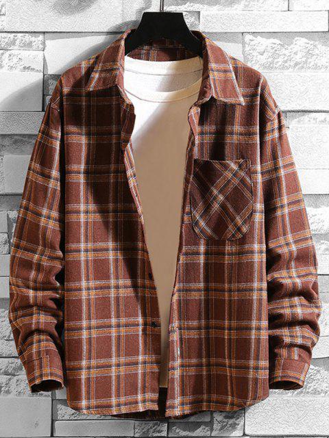 チェック柄プリントボタン付き長袖ポケットTシャツ - コーヒー S Mobile
