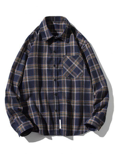 womens Plaid Print Button Up Long Sleeve Pocket Shirt - CADETBLUE 2XL Mobile