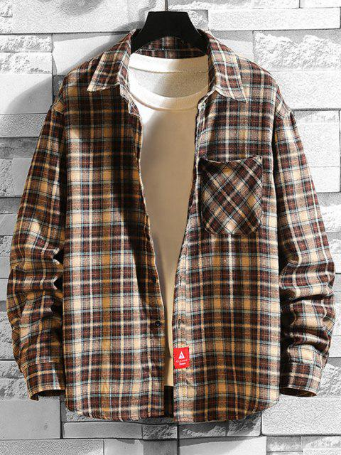 online Plaid Print Applique Button Up Pocket Shirt - COFFEE M Mobile