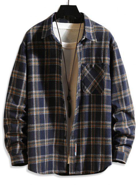 Plaid Print Button Up Long Sleeve Pocket Shirt - طالبا الأزرق S Mobile