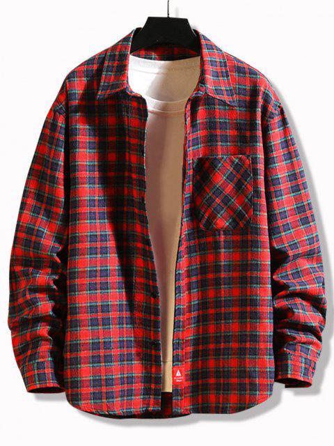fancy Plaid Print Applique Button Up Pocket Shirt - RED L Mobile