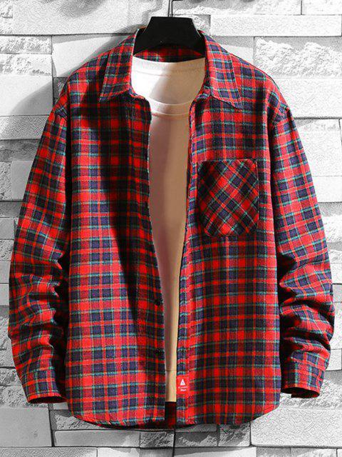 Plaid Print Applique Button Up Pocket Shirt - أحمر L Mobile