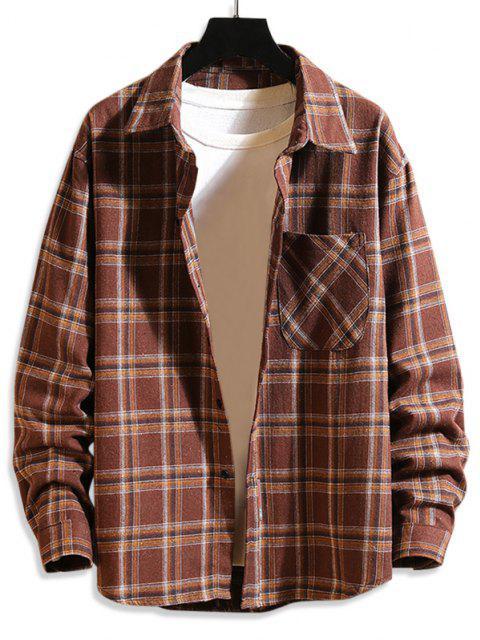 Chemise Boutonnée à Carreaux Imprimé à Manches Longues avec Poche - café XS Mobile