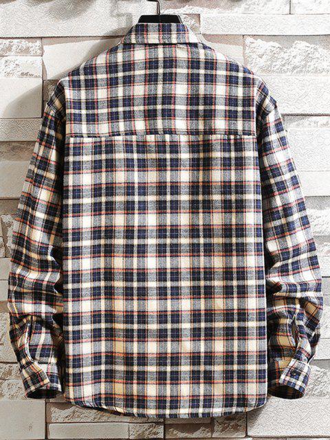 women Plaid Print Applique Button Up Pocket Shirt - CADETBLUE XS Mobile