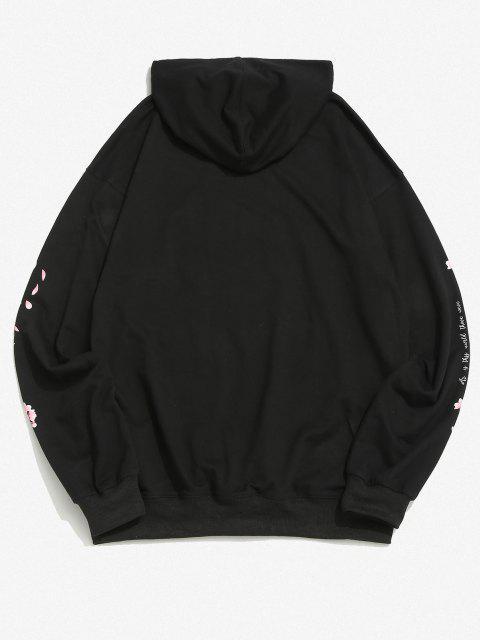 shops Sakura Letter Graphic Streetwear Hoodie - BLACK S Mobile