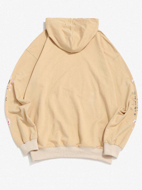 Sakura Letter Graphic Streetwear Hoodie - ضوء الكاكي XL Mobile