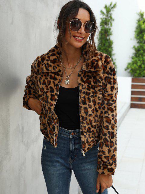Leopard Fluffy Zipper Jacket - القهوة العميقة S Mobile