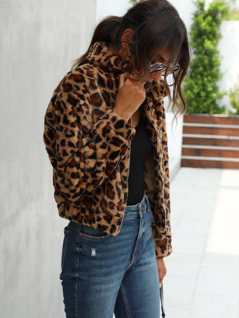 trendy Leopard Fluffy Zipper Jacket - DEEP COFFEE S Mobile