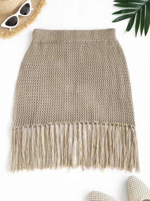hot Fringed Hem Crochet Beach Skirt - LIGHT COFFEE ONE SIZE Mobile