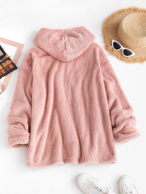 Drawstring Side Slit Fluffy Blanket Hoodie - وردي فاتح M Mobile