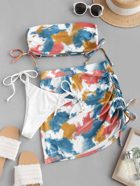 online ZAFUL Tie Dye Ribbed Cinched Three Piece Bikini Swimwear - MULTI M Mobile