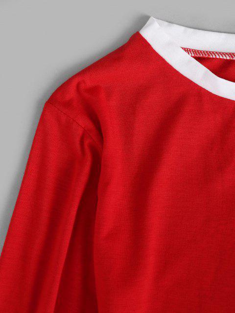 unique Contrast Stripes Comfy Christmas Pajama Set - RED S Mobile